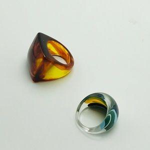 Vintage Jewelry - 2 vintage lucite rings